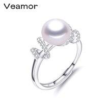 Новое поступление высокое качество CZ кольцо Белый посеребренный микро-вставки кристаллы Кольца из натурального жемчуга для женщин Свадебные украшения