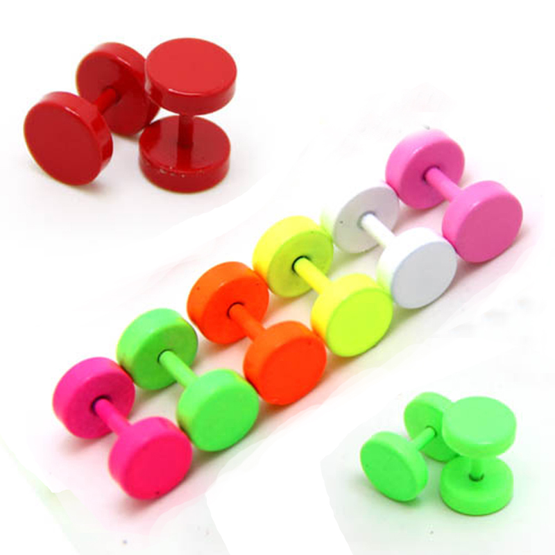 LNRRABC Titanium Earrings Dumbbell Piercing Ear-Studs Men Punk Double-Sided Unisex Woman