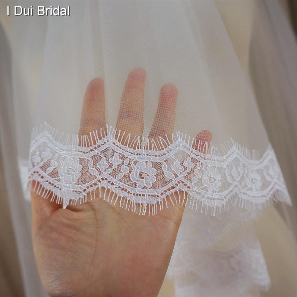 Alencon Eyelash Lace 3 meter lång brudslöjor bröllop hår - Bröllopstillbehör - Foto 4