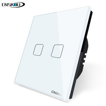Cnskou EU Standard 2 Gang 1 Way Wall Touch Switch,Tempered Crystal Glass Switch Panel, AC 220-250V switch eu standard switch wall touch switch luxury white crystal glass 1 gang 1 way switch 220v lamp touch sensor wall switch
