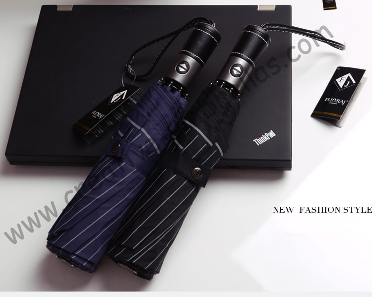Fully automatic 8 ribs three fold auto open auto close umbrellas windproof pure leather gents commercail