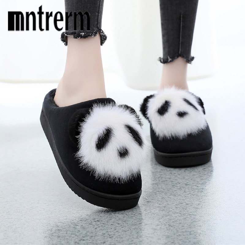 Mntrerm Women Winter Home Slippers Cartoon Panda Shoes Non-slip Soft Winter Warm House Slippers Indoor Bedroom Lover Floor Shoes