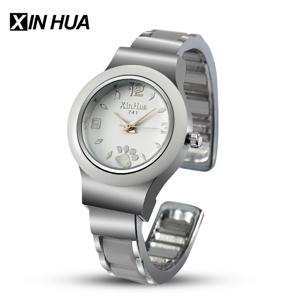 Relogios Feminino XINHUA Women Watches Stainless Steel Bracelet Bangle Cute Puppy Footprint Wristwatch Female Saati Reloj Mujer цена