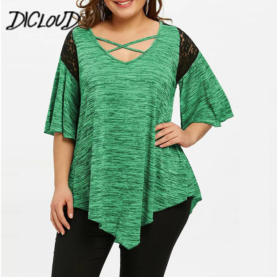 DICLOUD Horn Sleeve Plus Size Blouse Women 2018 Stitching