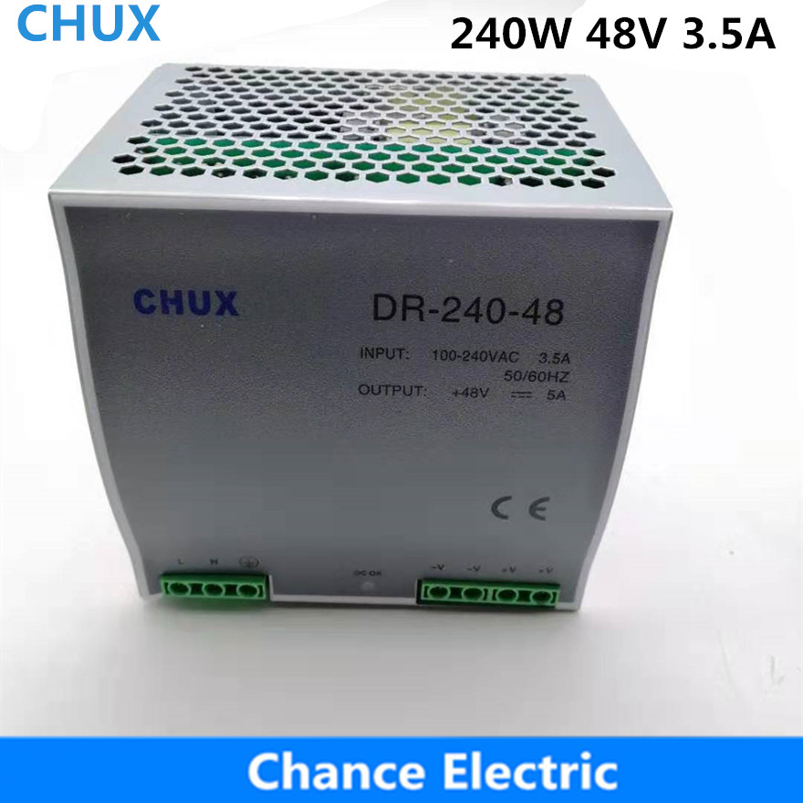 Din rail Switching Power Supply 240W 48V 5A Single Output  AC dc input SMPS DR240w-48v for cnc led lightDin rail Switching Power Supply 240W 48V 5A Single Output  AC dc input SMPS DR240w-48v for cnc led light