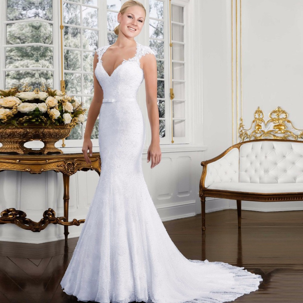 Sweetheart Wedding Dress With Cap Sleeves: KSD004 Vestido De Noiva Sweetheart Custom Made Mermaid