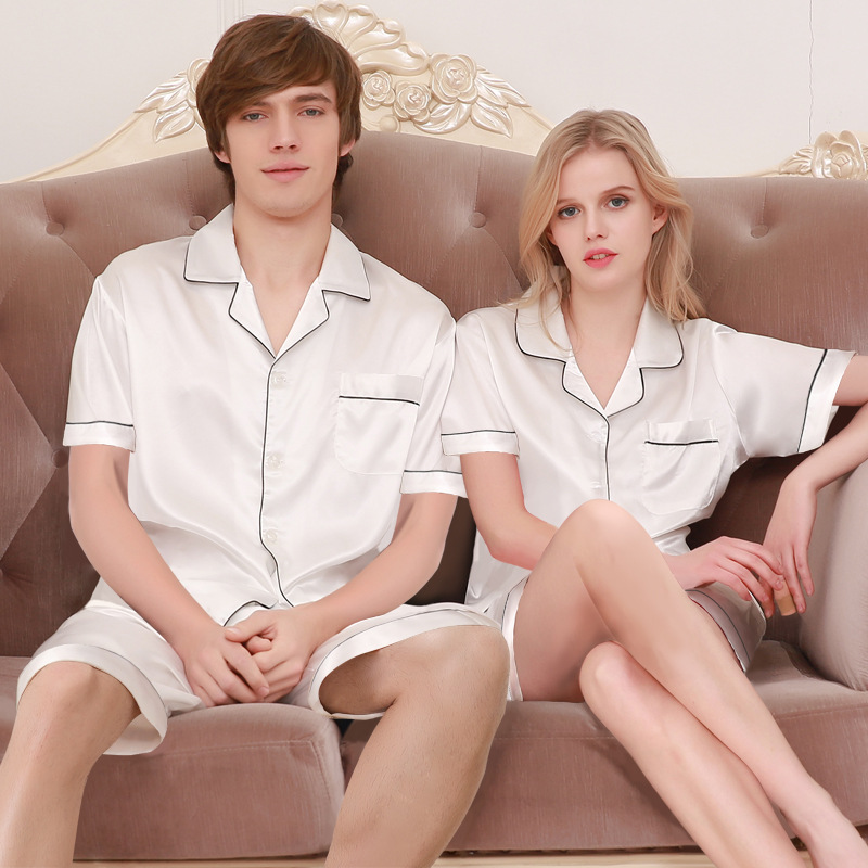 Underwear & Sleepwears Couples Silk Homewear New Summer Mens Pajamas Sexy Sleepwear Male Short-sleeve Shorts Pajamas Fashion Men Homewear Sets D-2173 Evident Effect