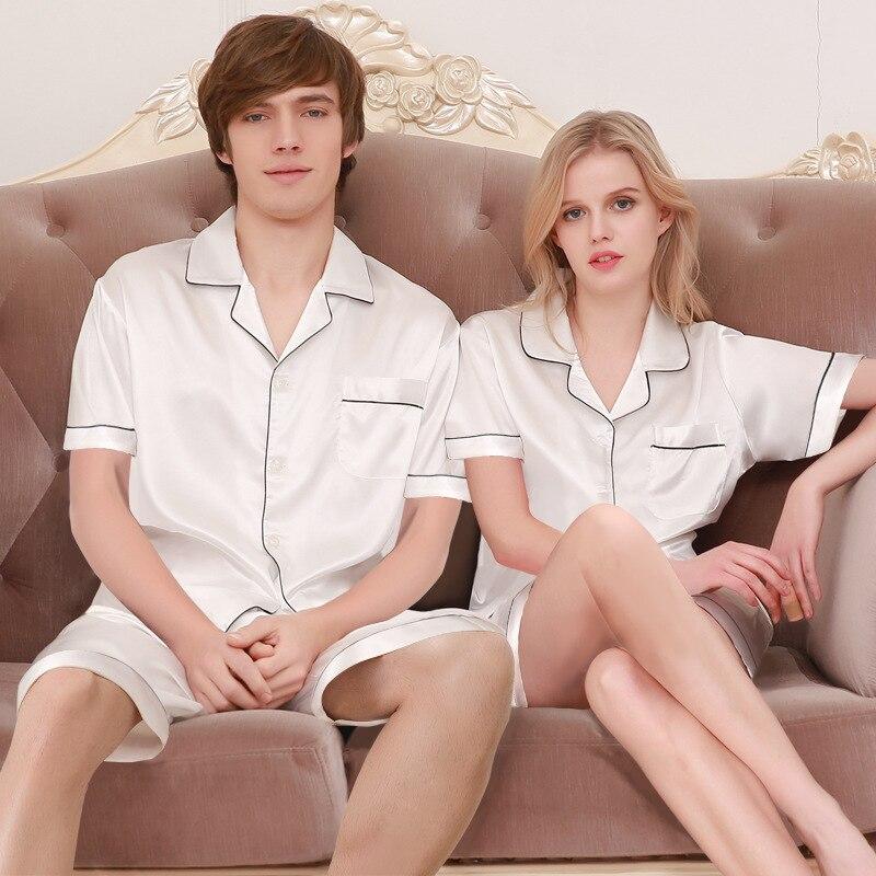 Men's Sleep & Lounge Couples Silk Homewear New Summer Mens Pajamas Sexy Sleepwear Male Short-sleeve Shorts Pajamas Fashion Men Homewear Sets D-2173 Evident Effect Underwear & Sleepwears