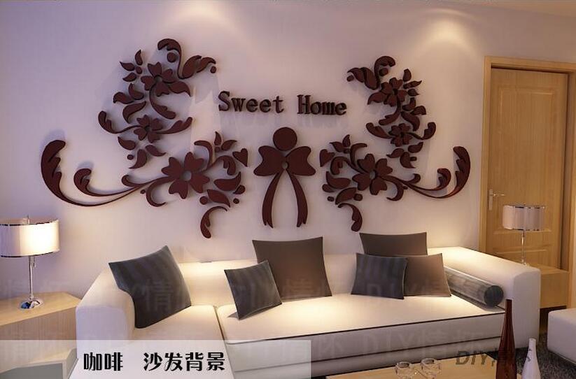 Acrylic Crystal Wall Decor: DIY Sweet Home 3d Crystal Flower Acrylic Three Dimensional