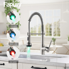 купить Fapully Kitchen Faucet LED Light Deck Mounted Brushed Spring Pull Down Dual Spray Spout Hot and Cold Water Kitchen Mixer Tap по цене 3959.23 рублей
