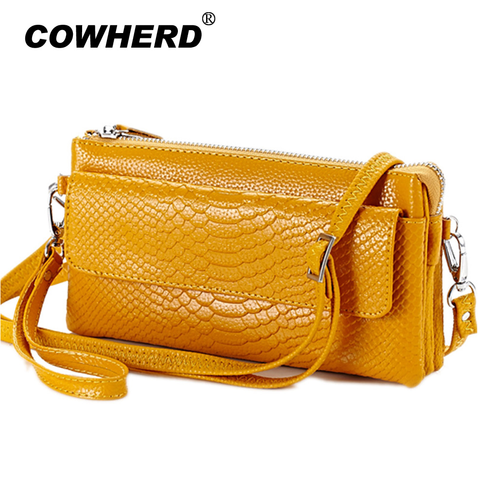 Hot selling! Women Clutch Bag snake pattern Genuine Cow Leather Wallets Fashion Wristlet  Phone Purse shoulder bags 6 colors women genuine leather character embossed day clutches wristlet long wallets chains hand bag female shoulder clutch crossbody bag