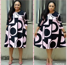 2019 New fashion African Print Elastic Bazin Rock Style Dashiki full Sleeve Famous middle dresses