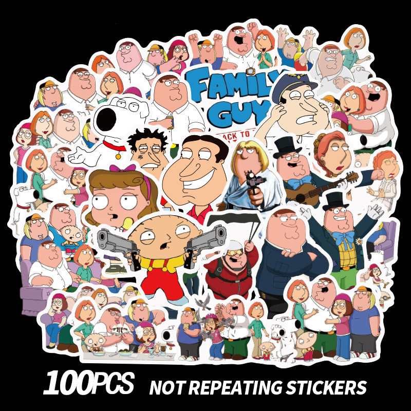 100PCS Family Guy Cartoon Kids Toy Sticker For DIY Scrapbooking Album Luggage Laptop Phone Notebook Decals Sticker