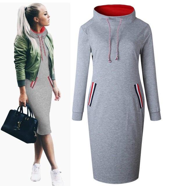 ebd65df31b 6 Colors Autumn Winter Sweatshirt Dress Women Long Sleeve 2017 New Casual  Black Grey Navy Blue