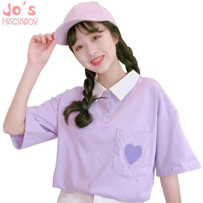Kawaii Tasca Gira-giù il Collare Magliette e camicette Delle Donne di Stile Harajuku Magliette e camicette Dolce Allentato Casual Tee Nuovo Stile Chic Amore Tasca donne T-Shirt