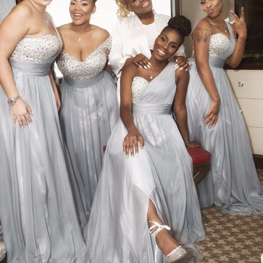 A line one shoulder silver beaded crystals sequins long for Silver wedding dresses for bridesmaids