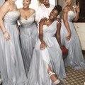 Una Línea de Un Hombro Con Cuentas de Plata Cristales Lentejuelas de Plata Larga de La Gasa de Damas de Honor Vestidos de Novia de Hendidura Lateral Vestidos de Fiesta