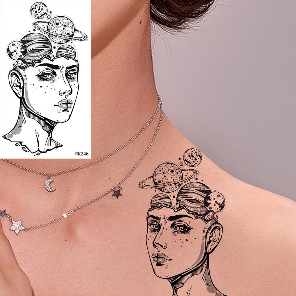 Ommgo Illustration Diy Abstract Planets Man Temporary Tattoos Sticker Fake Tatoo Body Art Arm Tattoos Women Star Universe Tatoos Temporary Tattoos Aliexpress