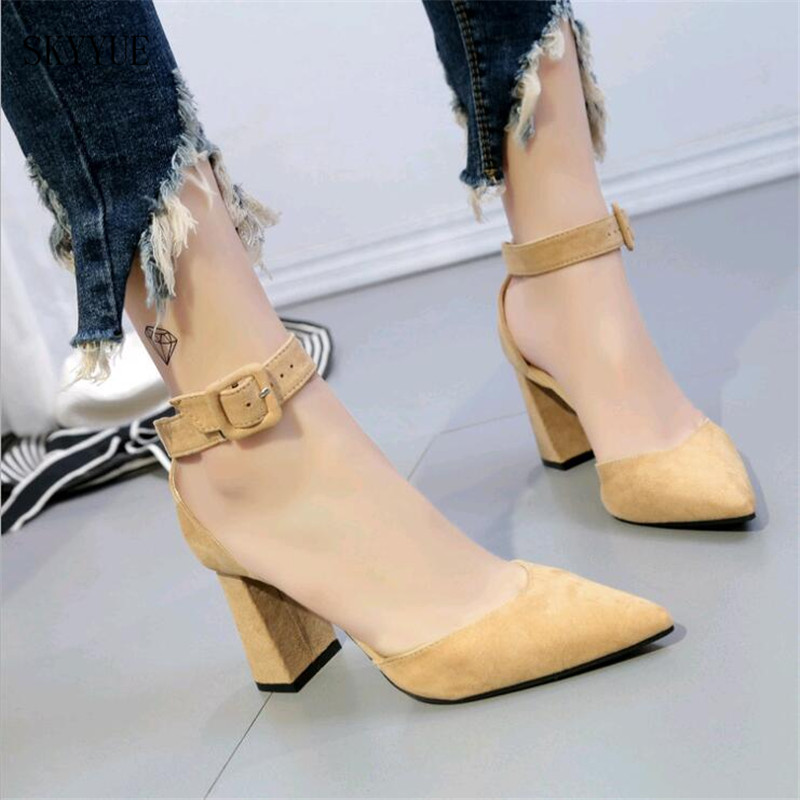 2018 New Spring and Summer Word Buckle Sandals Thick with Fashion Wild Pointed Hollow Womens High Heels Shoes