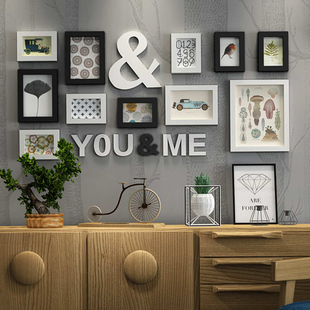 . US  82 15 39  OFF Solid Wood Large Picture Frames Modern Living Room  Fashion Painting Photo Frame Set Wooden Letter Home Wall Decoration DIY in  Frame