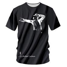 Summer Cool Men 3d Print MJ T-shirt O-Neck Short Sleeves Casual Produce For Commemorating Michael Jackson Black T Shirt Tops 7xl