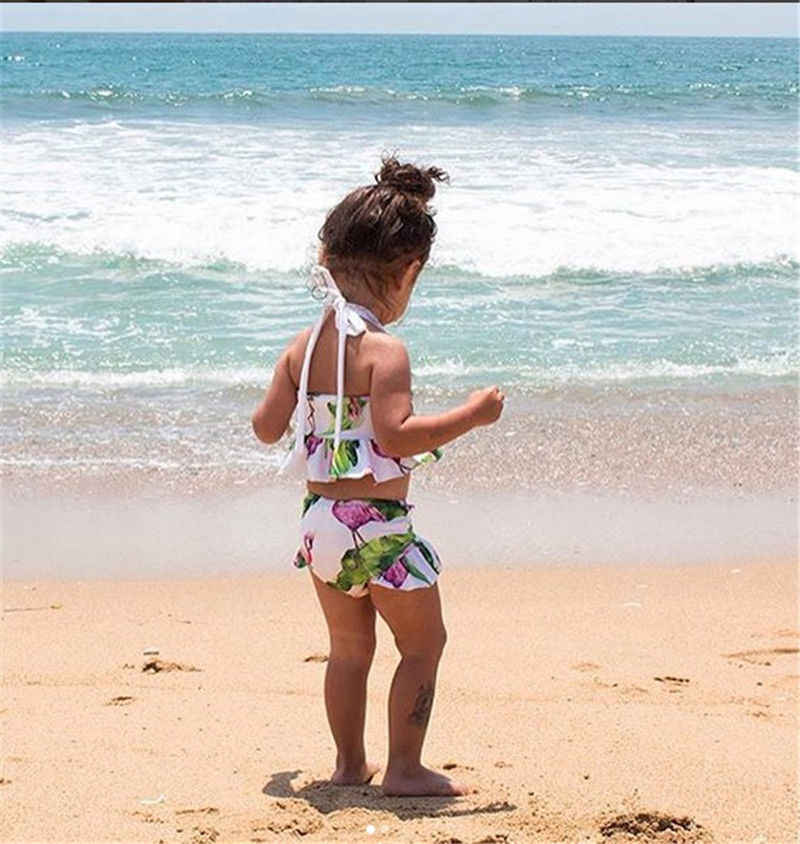 キッズベビーガールズビキニセット 2018 かわいいフラミンゴ水着水着ビーチウェアのための夏の女の子子供水着