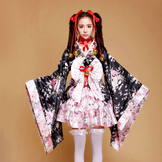 6060a9ad0 Adult Child Cute Lolita Maid Sakura Kimono Yukata Uniform Meidofuku Dress  Outfit Anime Cosplay Costumes