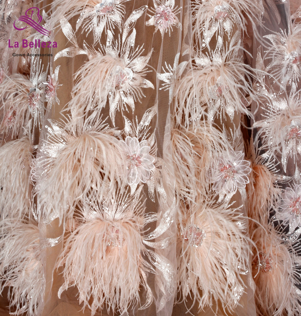 1yard New fashion style pink off white heavy handmade beads and Feather on netting embroidery wedding