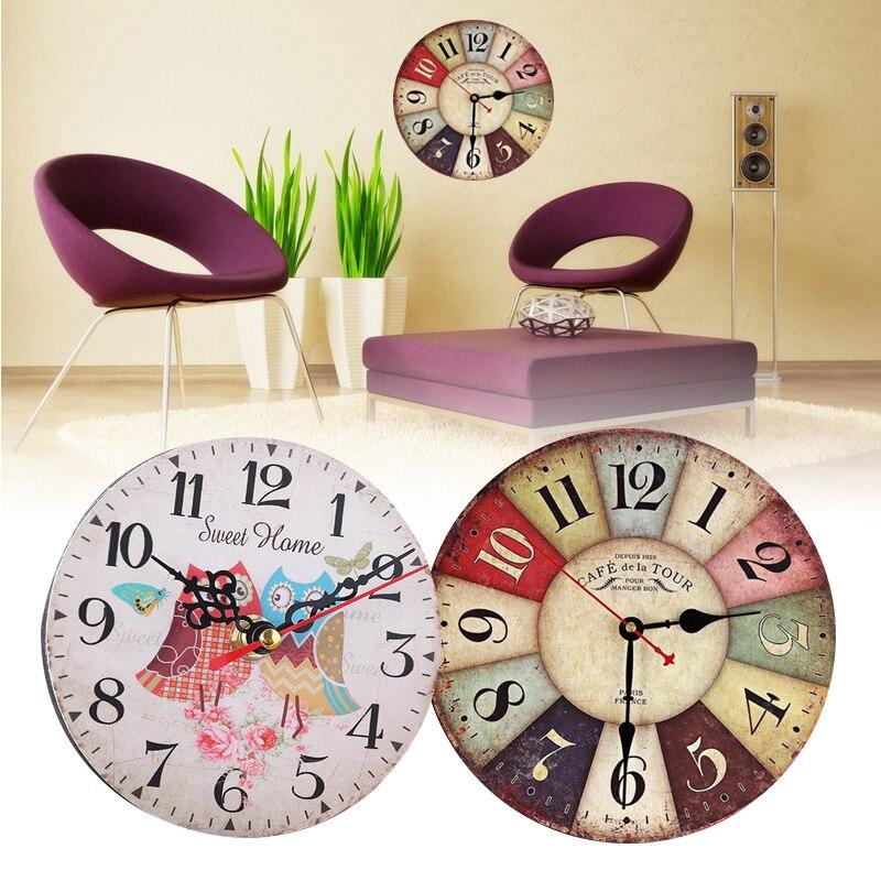 Retro Wall Clocks Quartz Classic Clock Mute Living Room Hanging Decoration Ornaments Home Office Decor 12cm DiameterMulti Style