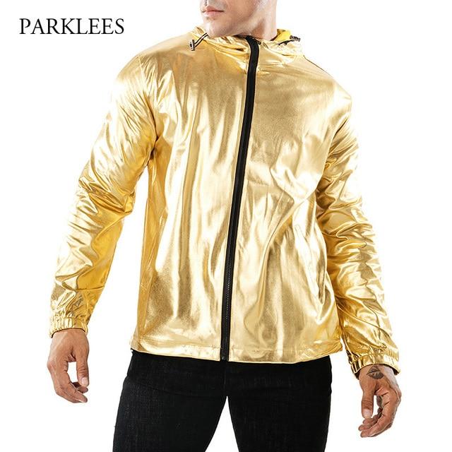 Hooded Jacket Men Shiny Gold Metallic Jaqueta Masculina 2018 Night Club  Singer Chaqueta Hombre Streetwear Hip Hop Veste Homme 29968e101d4