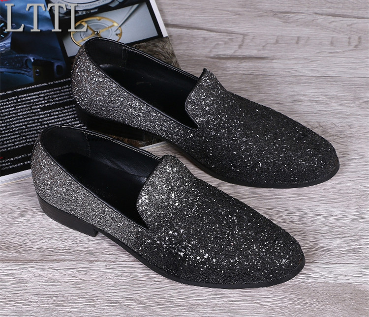 Plus Size 38-47 LTTL Men's  Flats Shoes Black Silver Glitter Shoes Man Summer Style Casual Driving Moccasins Daily Zapatillas триммер babyliss pro 25мм на батарейке 1180379