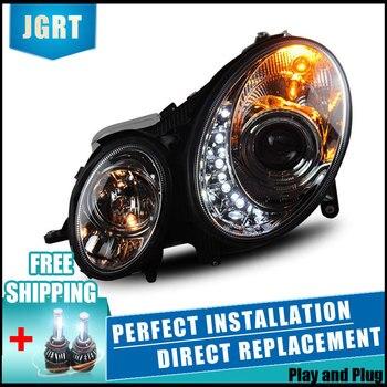 2PCS LED Headlights For Benz W211 2003-2009 Car Led Lights Double Xenon Lens Car Accessories Daytime Running Lights Fog Light