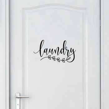 Bathroom Sign Decal Home Toilet Door Art Wall Decor , Laundry Door Sign Vinyl Sticker Farmhouse Style Mural Decals Home Decor 1