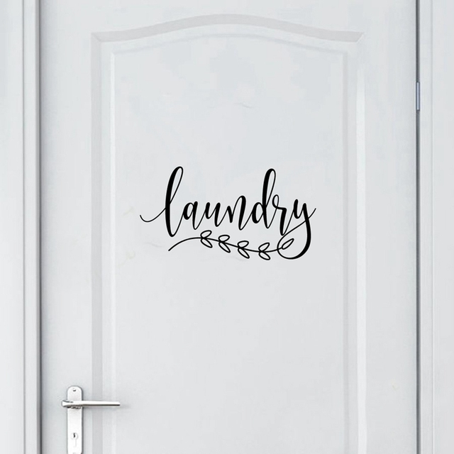 Bathroom Sign Decal Home Toilet Door Art Wall Decor , Laundry Door Sign Vinyl Sticker Farmhouse Style Mural Decals Home Decor 1