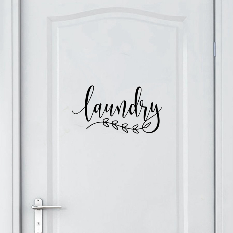 Bathroom Sign Decal Home Toilet Door Art Wall Decor , Laundry Door Sign Vinyl Sticker Farmhouse Style Mural Decals Home Decor