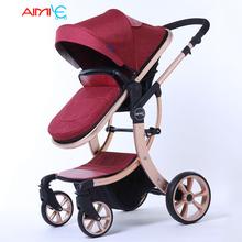 175 Degree Luxury Baby Stroller 2 in 1 High-Landscape Pram Portable Folding baby Carriage X Design Frame Suspension kid car