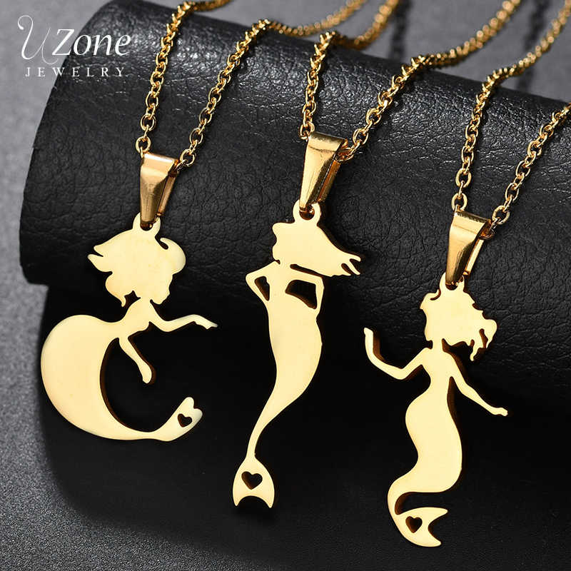UZone Unique Stainless Steel Mystical Mermaid Necklace Women Gold Color Lovely Ariel Princess Necklace Prom Gift