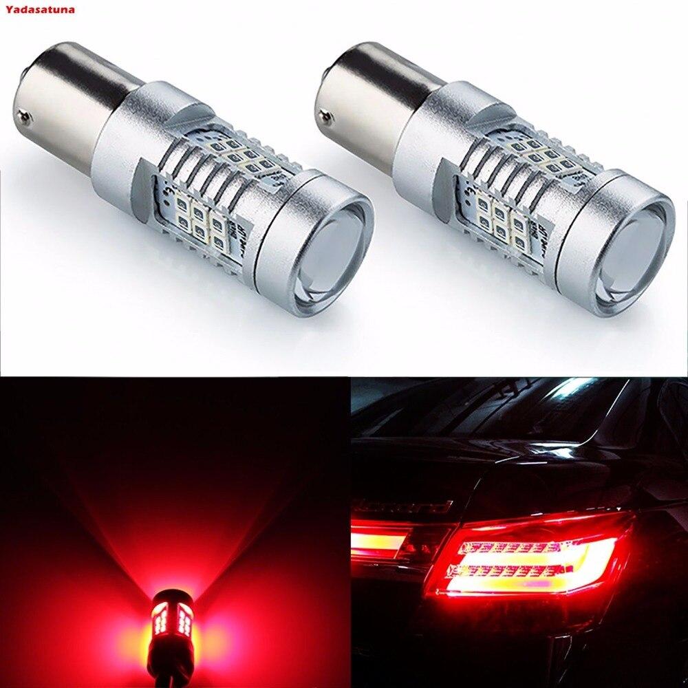 2x7528 1157 BAY15D 1034 Red LED Bulbs 2835 21SMD 80W High Power 12V Lens LED Turn Signal Back Up Reverse Tail Brake LED Light