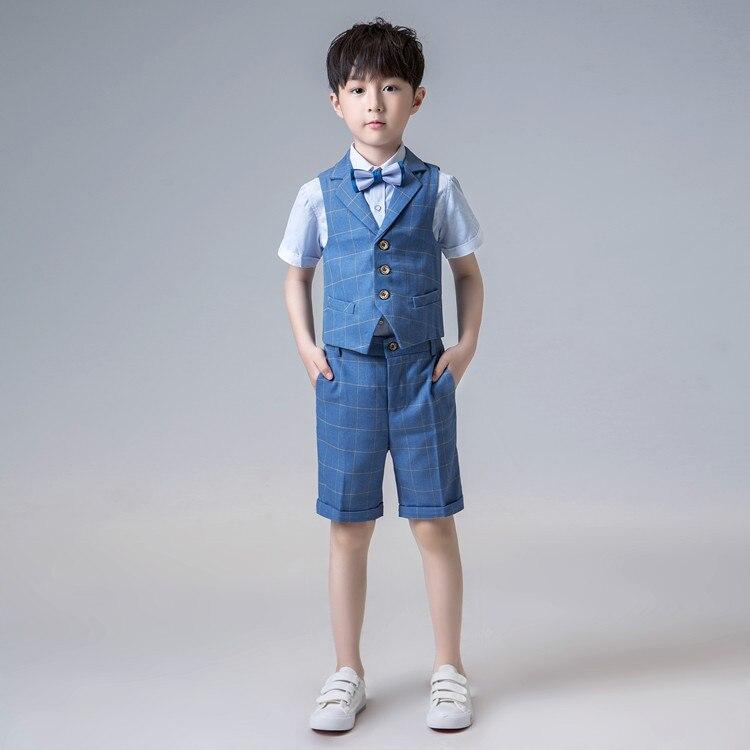 Короткий костюм для мальчиков, однобортные костюмы для мальчиков на свадьбу, костюм блейзеры для мальчиков, летняя одежда