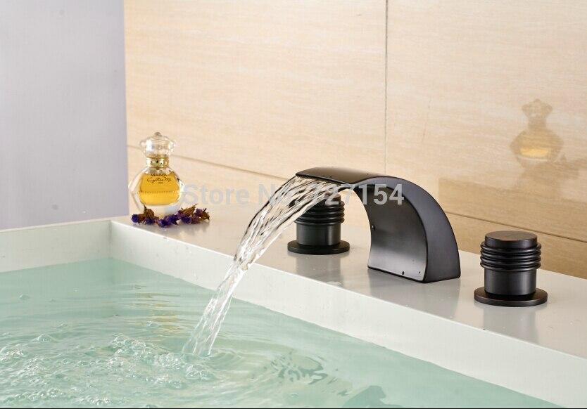 Масло втирают Бронзовый Смеситель на бортике раковина смеситель водопад Носик Mixer