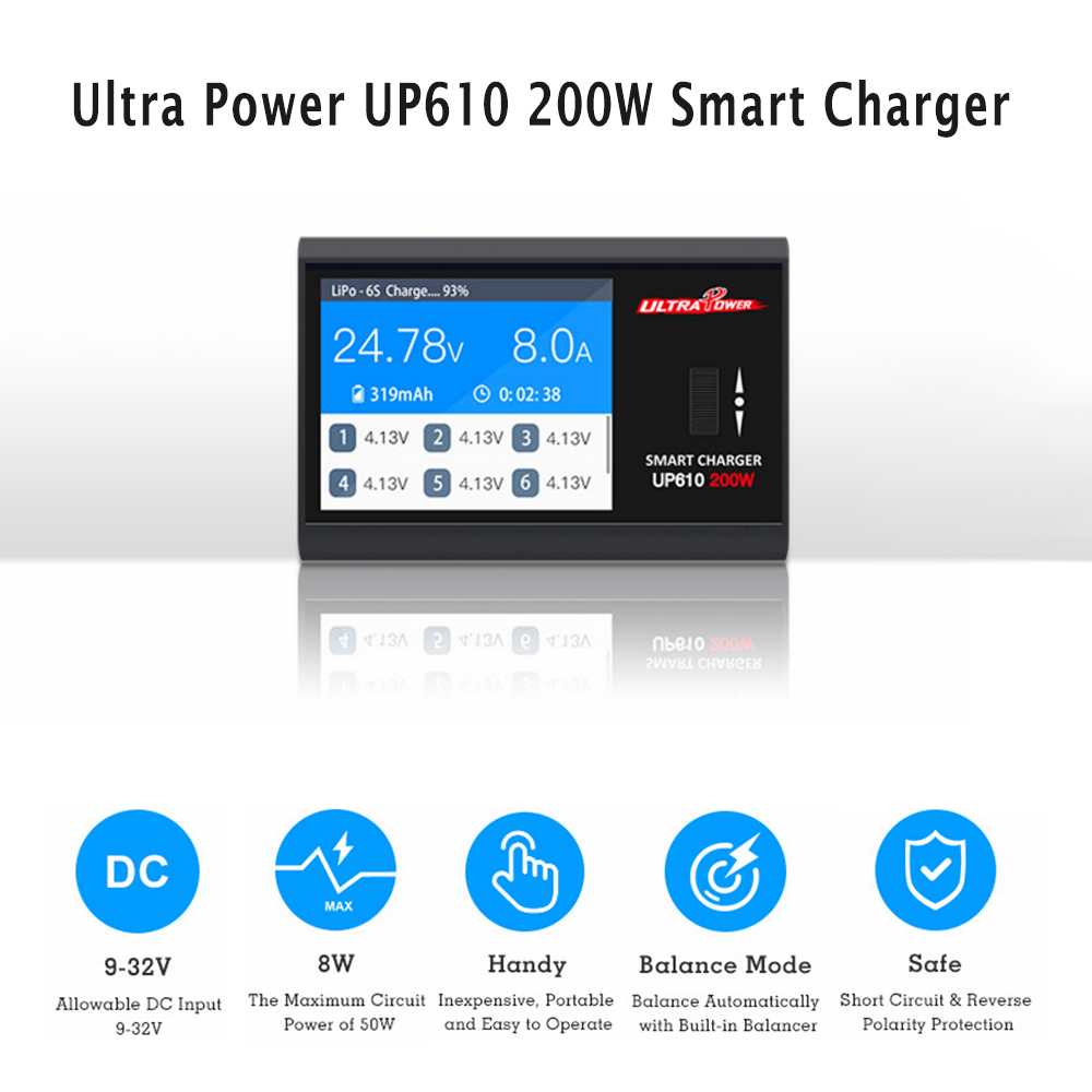 Ultra Power UP610 200W Pocket Smart Charger for RC Drone Quadcopter Car 1-6S Lipo Battery 1-16S NiCd/NiMH Battery ultra power up610 200w pocket smart charger for rc drone quadcopter car 1 6s lipo battery 1 16s nicd nimh battery
