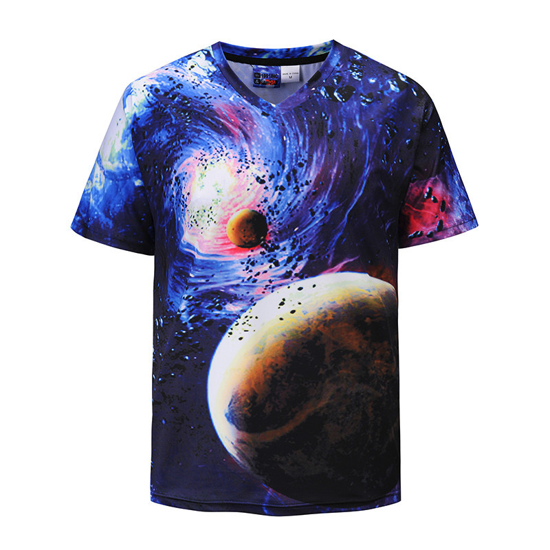 2018 Summer Tops Space Universe 3D Print Short Sleeved Tee Shirt Moon Sky Tshirt Mens Clothing Plus Size
