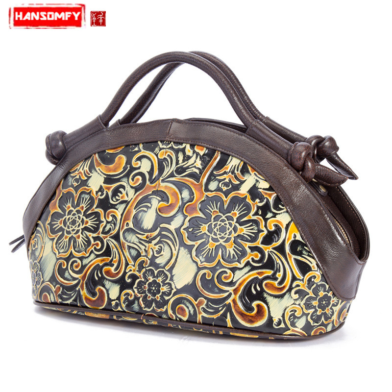 HANSOMFY New Women handbags Genuine leather retro fashion shoulder slung female ladies handmade rub color craft