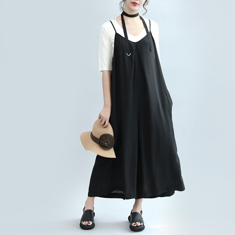 2018 Summer Women Overalls Casual High Street Oversized Dungarees Loose Wide Leg Pants Rompers Strap Sexy Jumpsuit S-5XL
