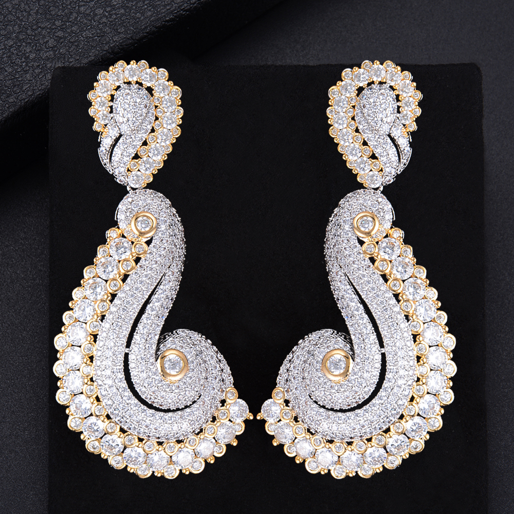 missvikki Luxury Handmade Jewelry Full Cubic Zirconia Cashew Shape Pendant Earrings Elegant Refined Top quality Noble Symbol