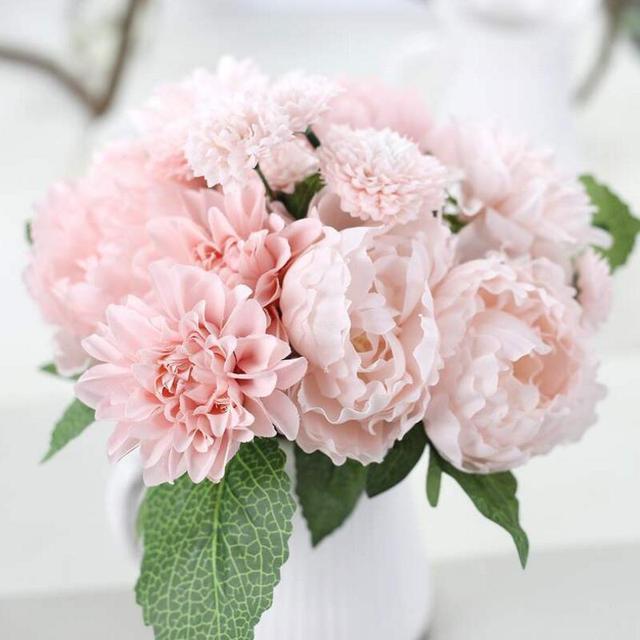 Silk Flower Peony Dahlias Artificial Flowers Bride Bouquet 6 Forks 8 ...
