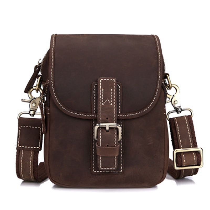 Vintage Genuine Leather Men Shoulder Messenger Small Bags Crazy Horse Mens Handbags Male Boys Crossbody Totes Travel Flap Case