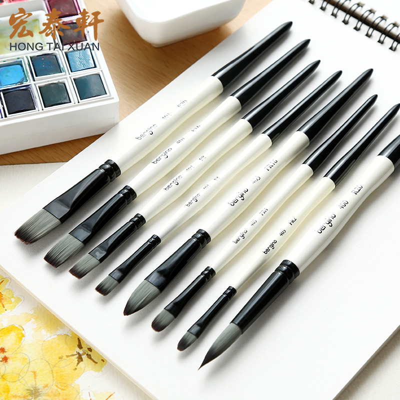 Bgln 1Piece Nylon Hair Professional Watercolor Paint Brush Round Flat Pointed Watercolor Oil Acrylic Painting Brush Art Supplies