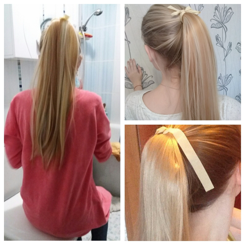 MERISI HAIR Hair Long 22inch Straight 20Colors Available Ponytails Clip In Ponytail Drawstring Synthetic Hair Extensions
