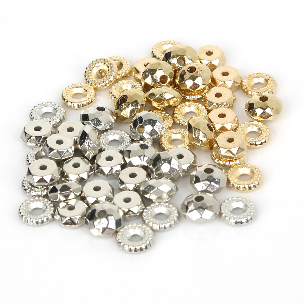 100-500pcs/lot 5-11mm CCB Material Gold Rhodium Spacers Loose Beads Jewelry Findings For DIY Bracelet Necklace Jewelry Making